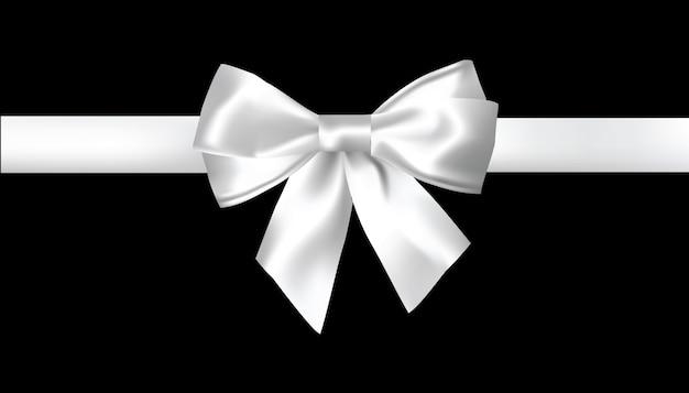 白い背景に現実的な白い弓。ベクトルイラスト。