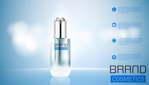 化粧品パッケージテンプレート、元の本質、テキストテンプレートとガラス液滴ボトル