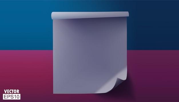 角が折れた空の紫色のシート。