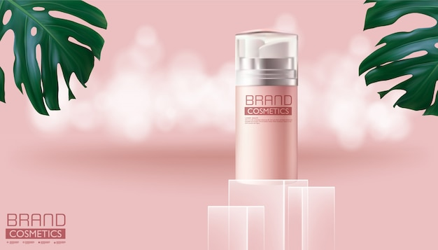 モンステラデリシオサとピンク色、現実的なデザイン、ベクトル図の化粧品ピンクスプレーボトル。