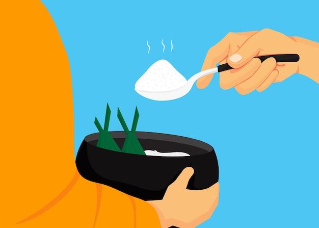 仏教徒はボウルに食べ物を提供する