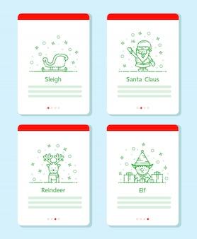 クリスマスアイテムは、クリスマスイベントのためのベクターラインデザインを設定します。