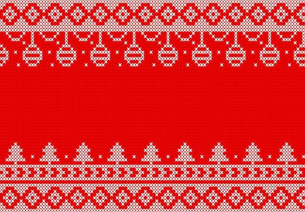 クリスマスイベントのための赤の背景デザインに白のニット。