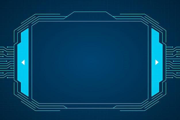 青い回路技術インターフェイスハドー背景デザイン。