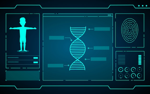 コンピューター技術の抽象的な未来的な背景の科学データ