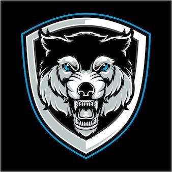 狼の怒った頭のベクトル