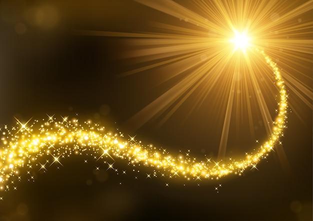 イルミネーションライトの背景とマジックゴールドキラキラ