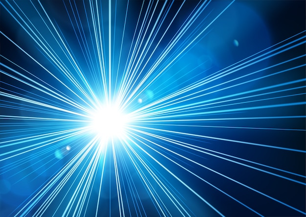 現実的なレンズフレアで暗闇から輝く青い光