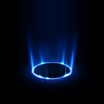 青い線を輝きで回転させる