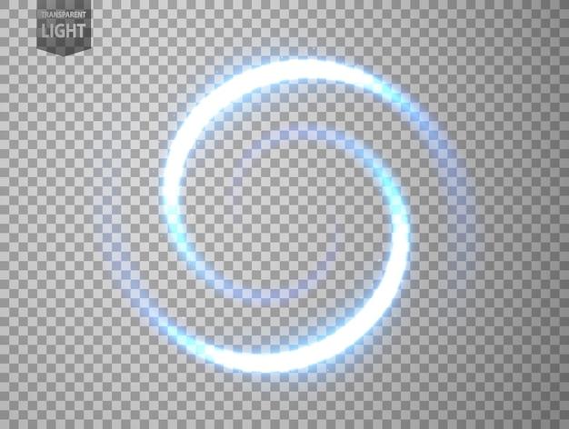 青い光がねじれている。透明な背景で隔離された