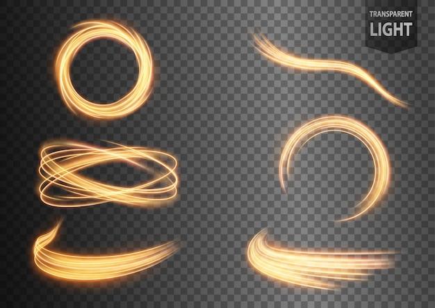 光の抽象的な金の波線は、透明な背景と設定