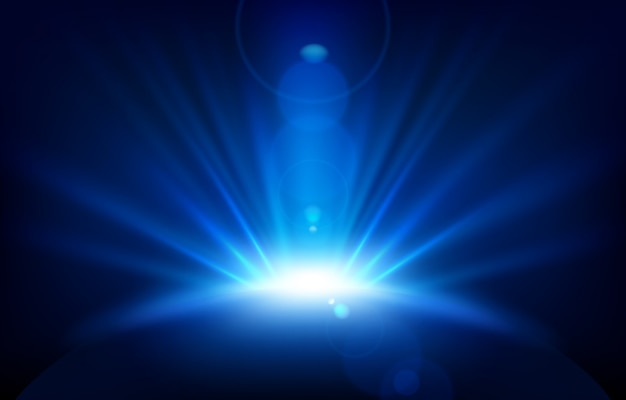 レンズフレアを持つ青い光線