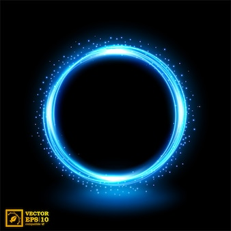 青い火花と光の抽象的な青い線。