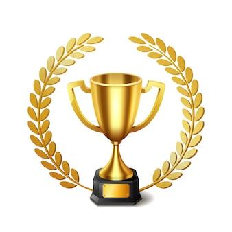 Реалистичный золотой трофей с золотым лавровым венком