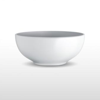 Реалистичная белая керамическая чаша