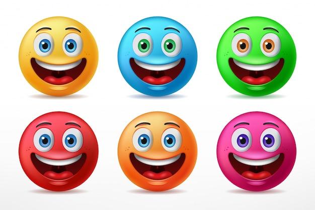 Шесть предопределенных цветных счастливых выражений лица