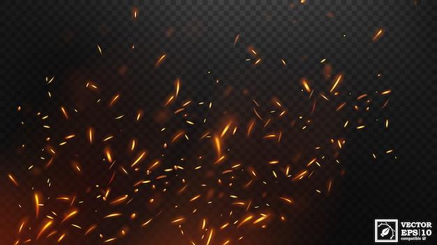 Огонь летающие искры эффект вектор