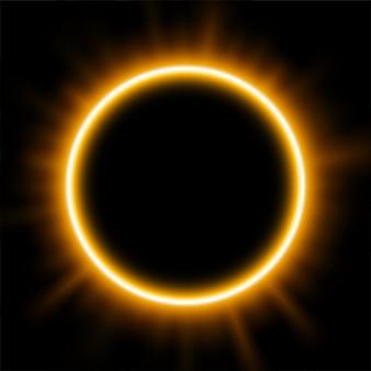 日食の背後にある金色の光