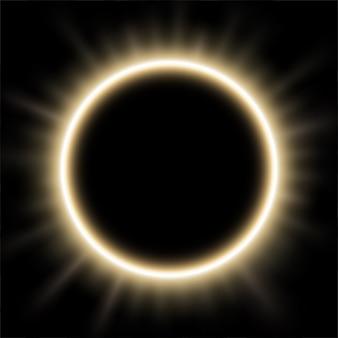 日食の背後にある白い光