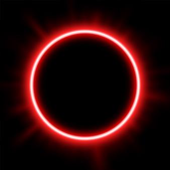 日食の背後にある赤い光