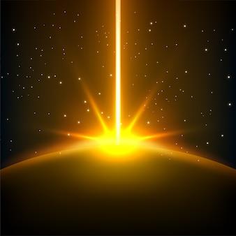宇宙の背景と上昇黄色の線