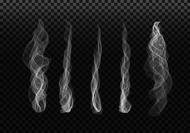 透明な背景に煙のセット
