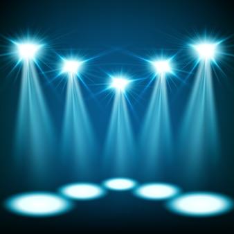 Синие прожекторы сияют
