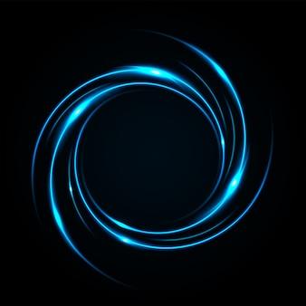 丸い青色の光がねじれ