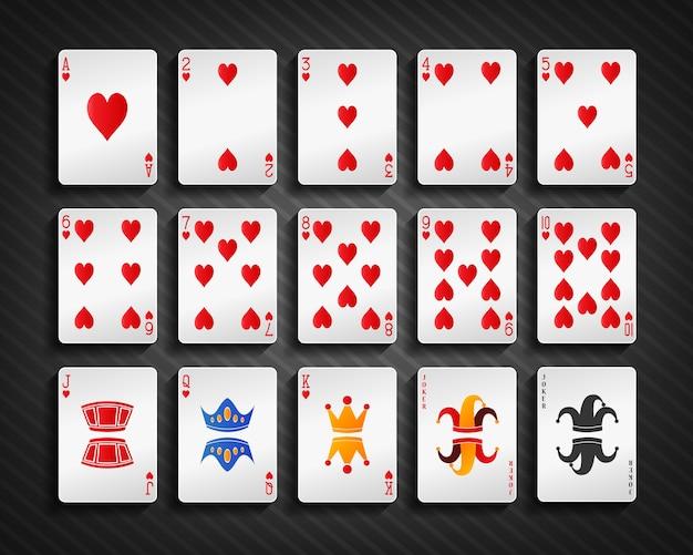 ポーカーカードの心臓セット