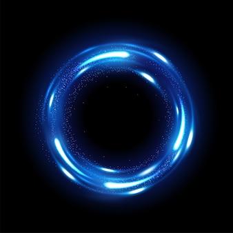 Вращающийся синий блеск с искрами