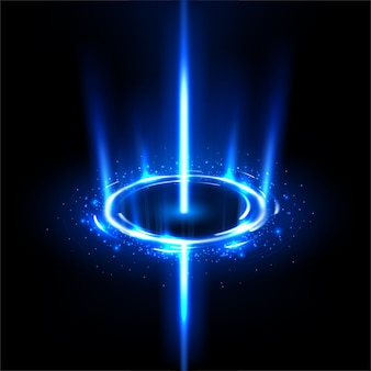 Вращающиеся синие лучи, как черная дыра с блестками
