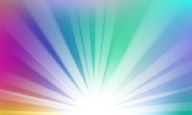 地平線の背景から上昇するカラフルな光