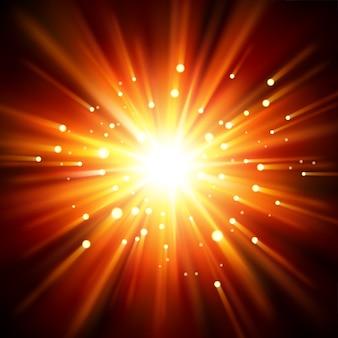 闇から照らされた太陽の光