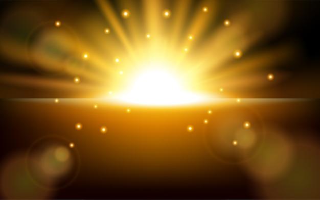 レンズフレアの背景を伴う日の出