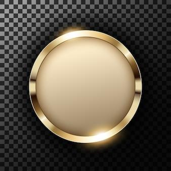 透明なテクスチャ上にテキストスペースを持つメタリックゴールドリング