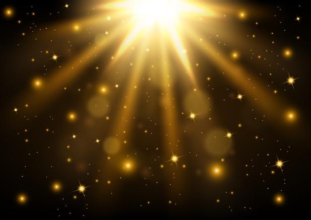 金色の光が輝くベクトル図
