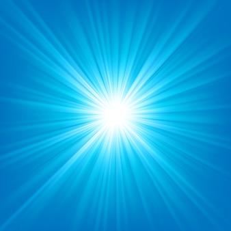 明るい背景に輝く青い光ベクトル図