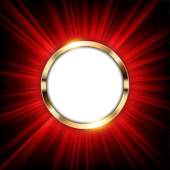 テキストスペースと赤い光が照らされたメタリックゴールドリング