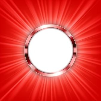 テキストスペースと赤色の光が照らされたメタリック・リング