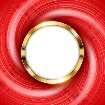 テキストスペースと渦巻きの赤い光を伴うメタリックゴールドリング