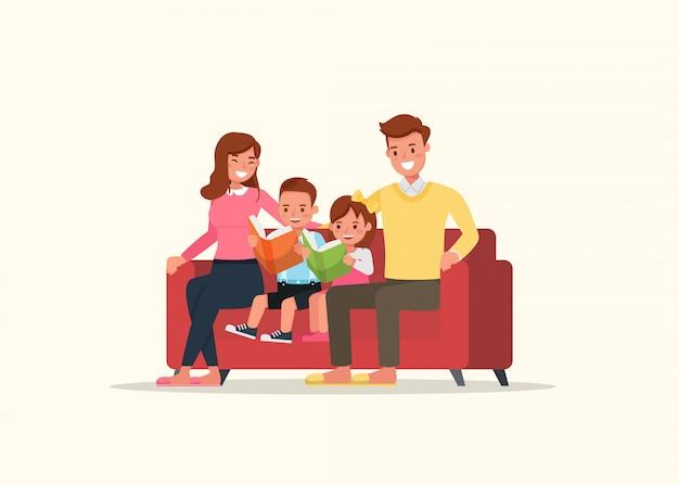 父と母が子供たちと本を読んでいます。