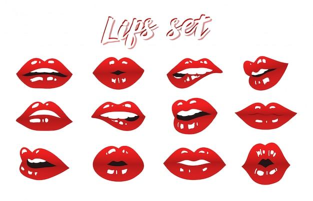 唇セットベクトルデザイン