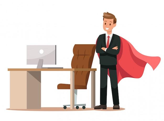オフィスで働くビジネスキャラクター
