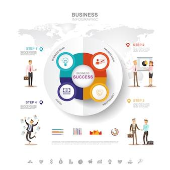 ビジネスインフォグラフィックグラフでビジネス成功のコンセプト