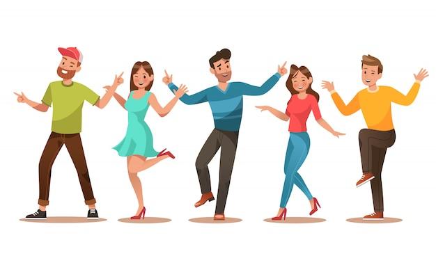 幸せな十代のキャラクター。十代の若者たちのダンス