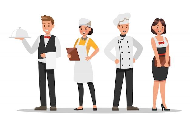 Персонажи ресторана персоналом. включите шеф-повара, помощников, менеджера, официантку