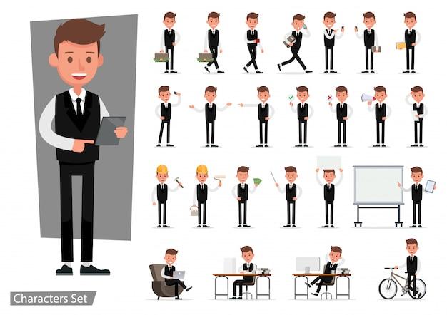 ビジネスマンのキャラクターのセット