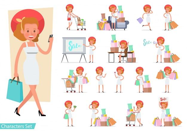 ショッピング女性キャラクターのセット。