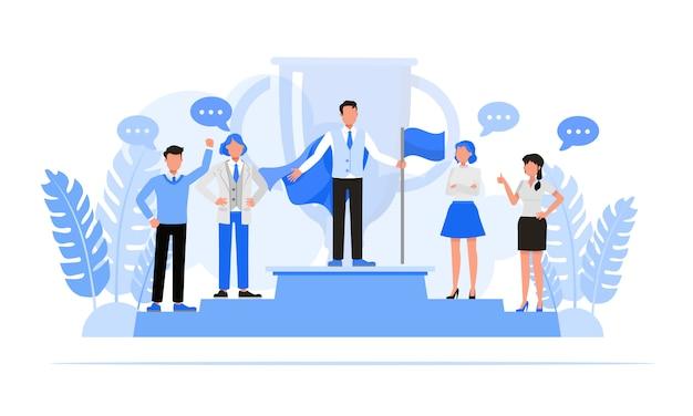 Набор символов деловых людей. бизнес-концепция лидерства и концепция совместной работы.