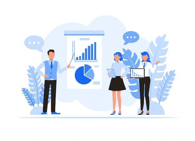 Набор символов деловых людей. деловые люди встречаются и поделиться идеей концепции.